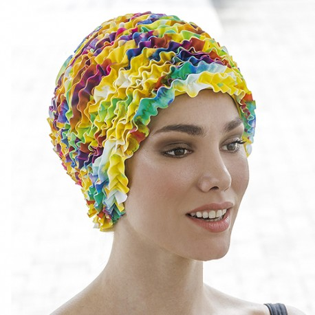 Bonnet de Bain Volants Multicolore Tissu