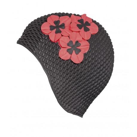 Bonnet de bain Gaufré Noir avec fleurs rouges