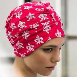 Bonnet de bain Tissu Rouge Fleurs de Lys