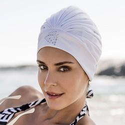 Bonnet de bain tissu blanc