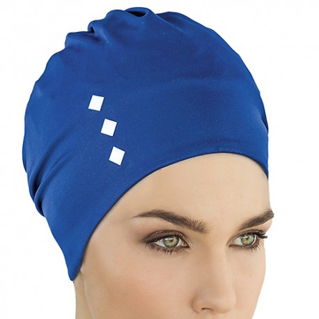 Bonnet de bain Tissu Bleu orné 3 carrés blancs
