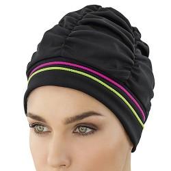 Bonnet de Bain Tissu Noir lisérés couleurs
