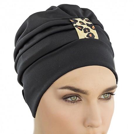 Bonnet de Bain Tissu Noir Tigré réglable
