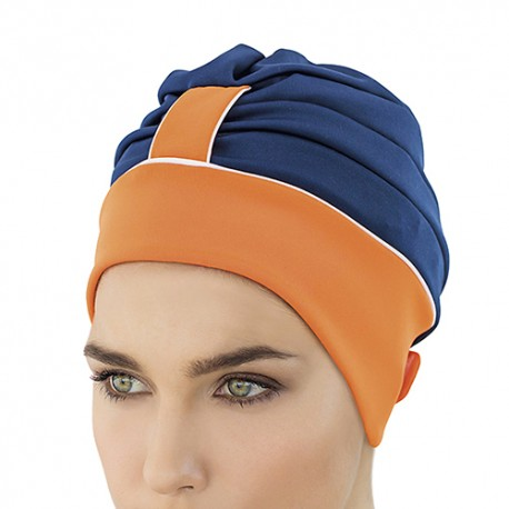 Bonnet de Bain Bleu & Orange avec scratch