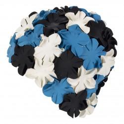 Cuffia in gomma con fiori, Nero Bianco Blu
