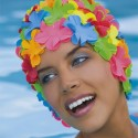 Cuffia in gomma con fiori, multicolori