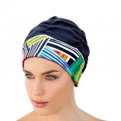 Bonnet de bain Noir bandeau graphique couleurs