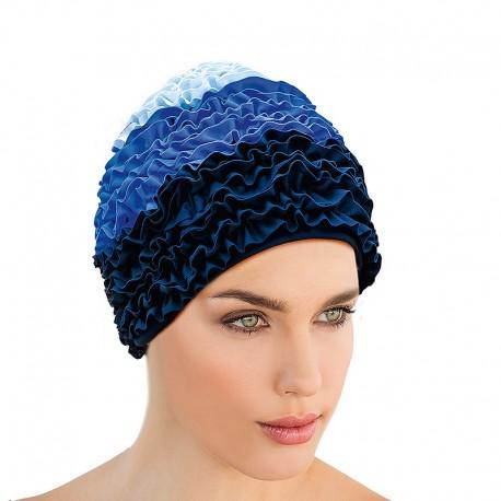 Bonnet de Bain Volants Tissu 3 bleus