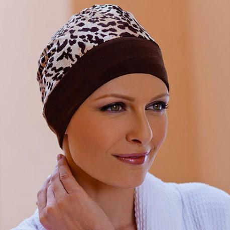 Bonnet Turban Réversible Tissu brun et sable