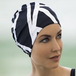 Bonnet de bain Tissu orné Strass Noir et Blanc avec scratch