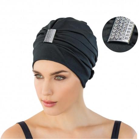 Bonnet de bain noir orné strass