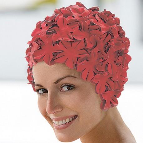 Gorro de baño flores, coral