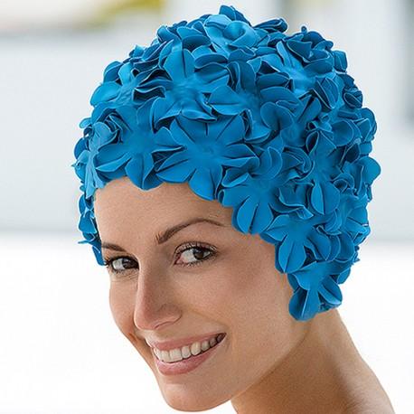 bonnet de bain caoutchouc fleurs bleues. Black Bedroom Furniture Sets. Home Design Ideas