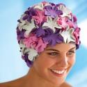 Cuffia da bagno con fiori, lilla-rosa-bianco