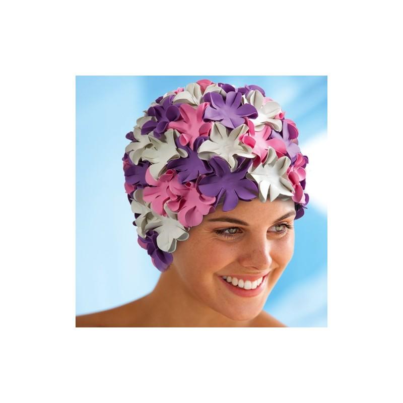 Bonnet de bain fleurs lilas roses blanche - Petale de rose bain ...