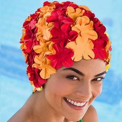 Bonnet de Bain Fleurs Rouge Orange