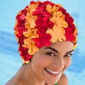 Bonnet de Bain Fleurs Rouge Orange