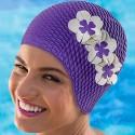 Bonnet de bain Gaufré Mauve avec fleurs