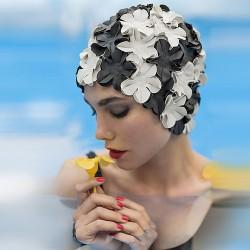 Cuffia da bagno fiori nero avorio
