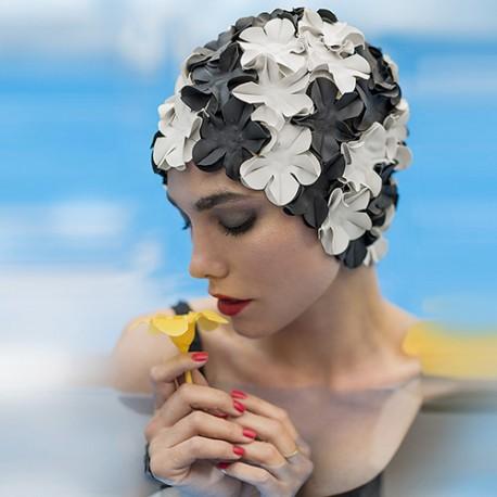 Bonnet de Bain Fleurs Noir et Blanc