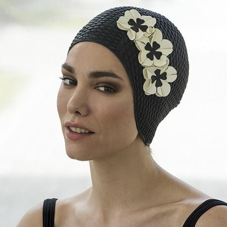 Bonnet de bain Gaufré Noir avec fleurs