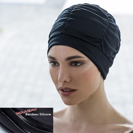 Bonnet de bain Tissu Noir bandeau intérieur silicone