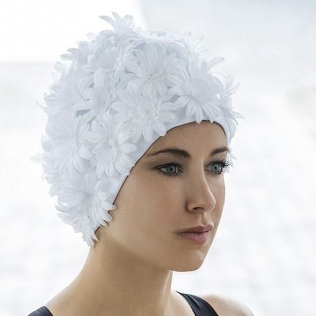 Bonnet de Bain Blanc Tissu Marguerites