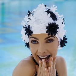 Bonnet de Bain Tissu Marguerites Noir et Blanc