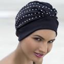 Bonnet de bain Tissu Noir orné Clous avec scratch