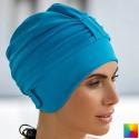 Bonnet de Bain Fantaisie Tissu Turquoise avec scratch