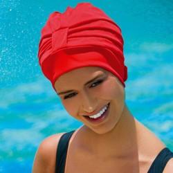 Bonnet de Bain Tissu Rouge réglable