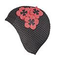 bonnet de bain gaufré noir fleurs rouges