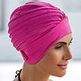 bonnet de bain tissu rose