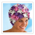 bonnet de bain caoutchouc lilas rose et blanc