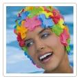 bonnet de bain caoutchouc fleurs