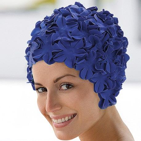 bonnet de bain caoutchouc bleu