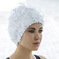 bonnet de bain fleurs blanc